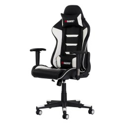 Cadeira Gamer II Reclinável 180º Giratória Preta com Branco Altura Ajustável Função Relax