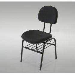 Cadeira Estofada 4 Pés Secretária Com Porta-Livros