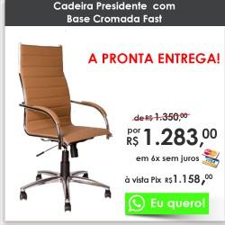 Cadeira Presidente Base Cromada Fast Bege