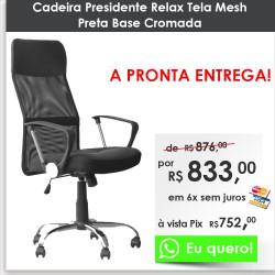 Cadeira Presidente Relax Tela Mesh Preta Base Cromada