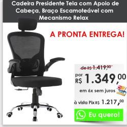 Cadeira Presidente Tela com Apoio de Cabeça