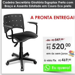 Cadeiras Ergoplax Giratória Couro Eco